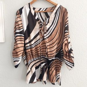 NEW Milano Abstract Striped Smocked Waist Tunic
